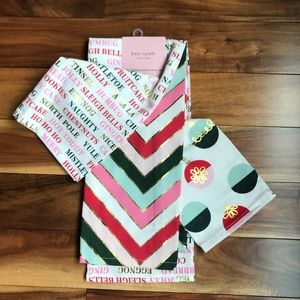 Kate Spade HOLIDAY 3 Piece TOWELS Set NWT